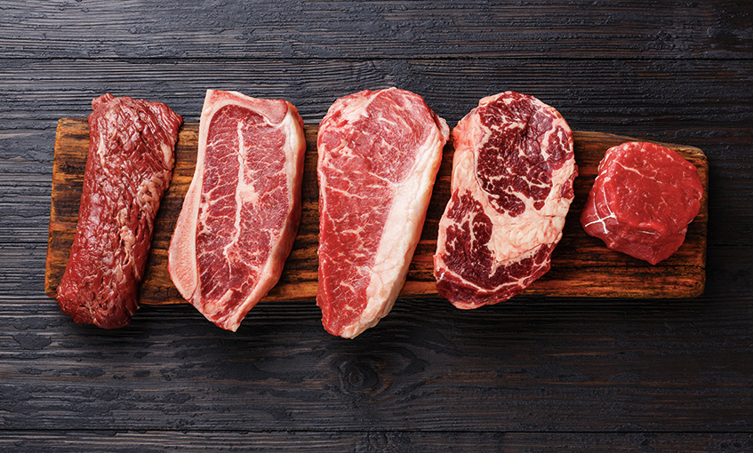 Diferentes piezas de carne