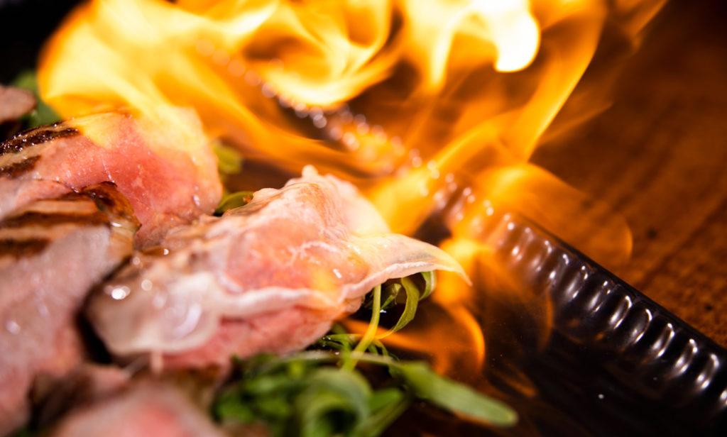 filete flambeado. Carne de la sierra de madrid